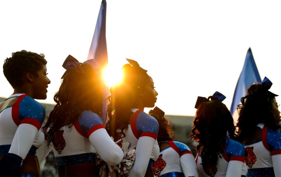 <strong>Tennessee State cheerleaders wait in formation before the kickoff of the Southern Heritage Classic.</strong> (Patrick Lantrip/Daily Memphian)