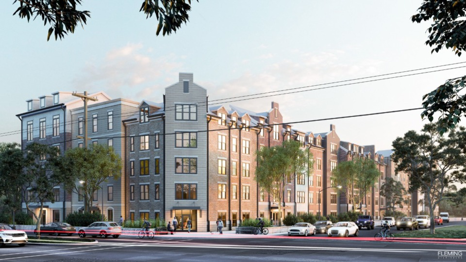 <strong>A rendering shows the seventh phase of Thornwood which includes residential and retail components. The Board of Mayor and Aldermen will review the proposal Monday evening. </strong>(Courtesy of&nbsp;Fleming Architects)