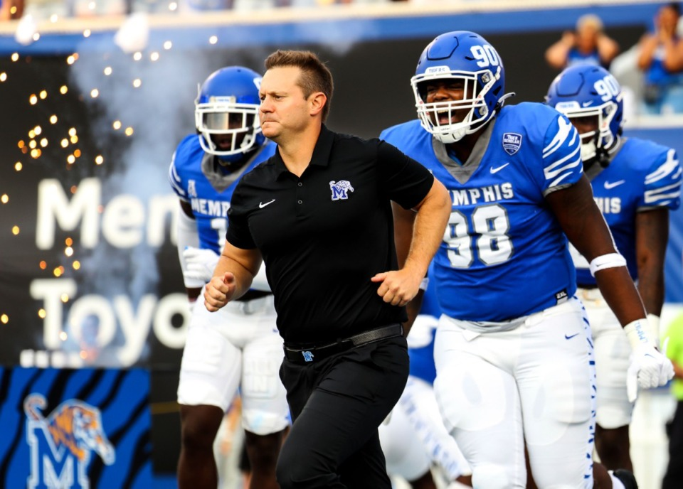 <strong>University of Memphis head coach Ryan Silverfield leads his players onto the field before the Sept. 4, 2021, game against Nicholls State at Liberty Bowl Memorial Stadium.</strong> (Patrick Lantrip/Daily Memphian file)