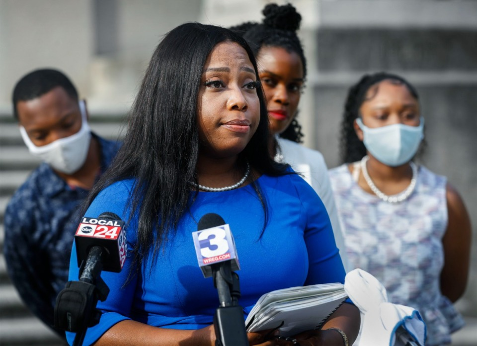 <strong>State Sen. Katrina Robinson speaks to the media portion    attending a property   league  with her household  and attorneys connected  the steps of the Judge D&rsquo;Army Bailey Courthouse connected  Wednesday, July 27, 2020.</strong>&nbsp; (Mark Weber/Daily Memphian file)
