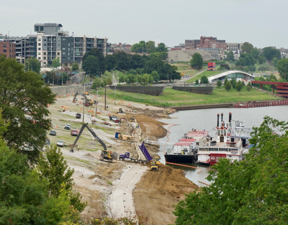 <strong>The project to restore and improve the city&rsquo;s historic cobblestone landing covers 7.5 acres, extending 1,900 feet along the Wolf River Harbor.</strong> (Tom Bailey/Daily Memphian)
