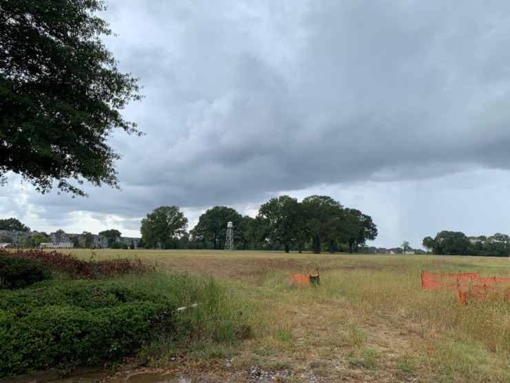 <strong>Land at Schilling Farms, home of the approved Water Tower District, stands empty in this Sept. 14, 2021, photo.</strong> (Abigail Warren/Daily Memphian)