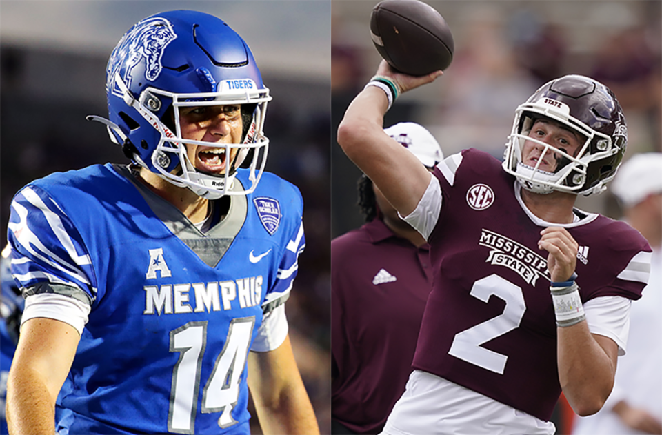 <strong>University of Memphis quarterback Seth Henigan (left) and&nbsp;Mississippi State quarterback Will Rogers.</strong> (Patrick Lantrip/Daily Memphian,&nbsp;AP Photo/Rogelio V. Solis)