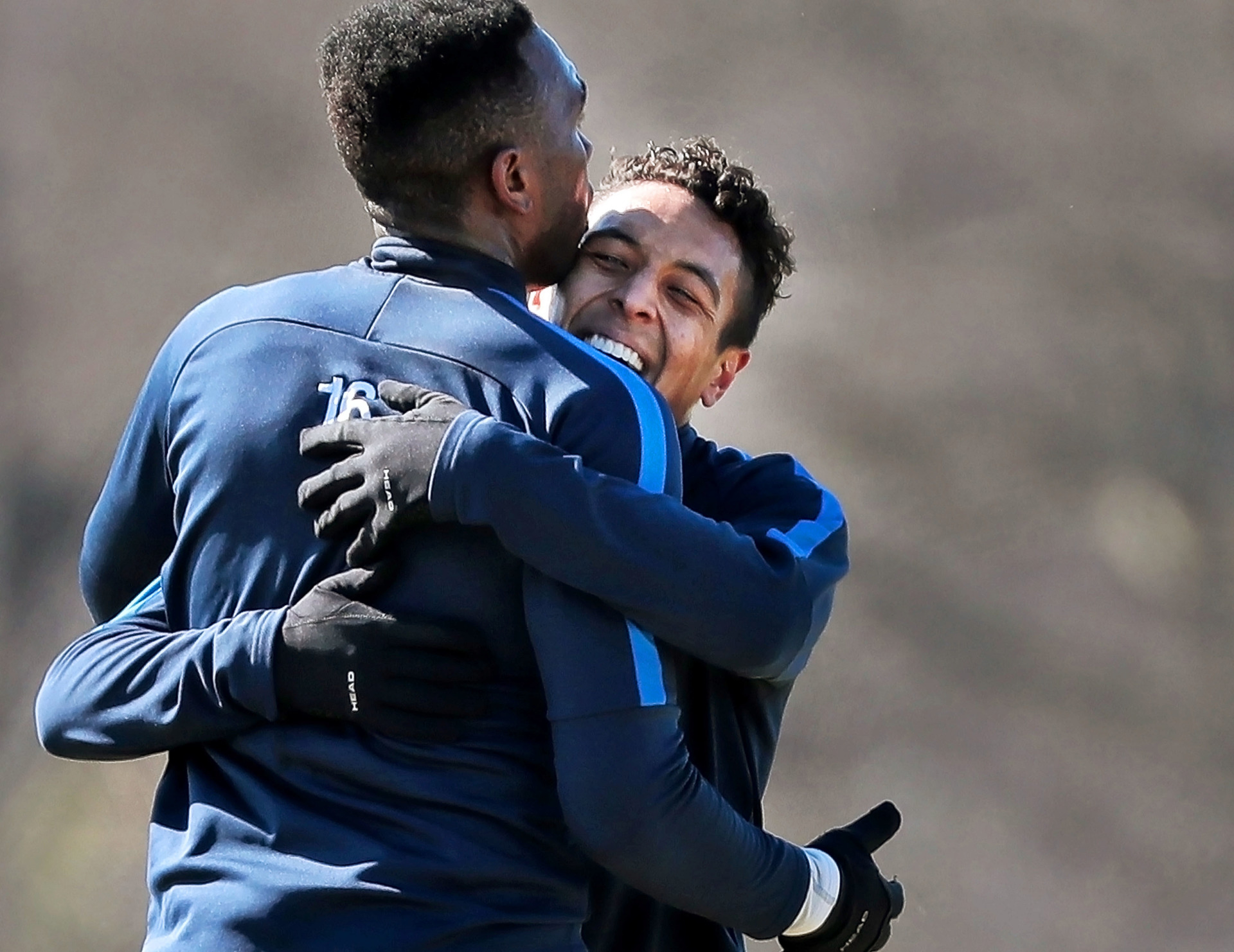 <strong>Memphis 901 FC midfielder Raul Gonzalez III celebrates with forward Heviel Cordoves (left) after scoring a goal during an exhibition game against the University of Memphis soccer team at the U of M south campus on Feb. 9, 2019.</strong> (Jim Weber/Daily Memphian)