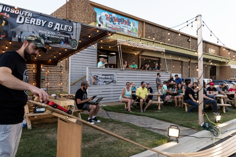 <strong>People gathered to watch and take part in a Midsouth Derby &amp; Ales event at Hampline Brewing Company.</strong> (Brad Vest for The Daily Memphian)