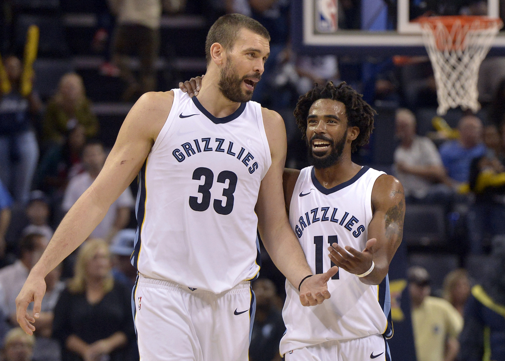 <span><strong>Memphis Grizzlies center Marc Gasol (33) and guard Mike Conley (11) talk between plays in the second half of an NBA basketball game against the Dallas Mavericks on Oct. 26, 2017, in Memphis.</strong> (Brandon Dill/Associated Press file)</span>