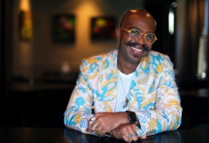 <strong>David Quarles poses for a portrait inside of Restaurant Iris Sept. 9, 2021. Quarles has been selected as the interior designer for Kelly English's new Pant&agrave; restaurant</strong>. (Patrick Lantrip/Daily Memphian)