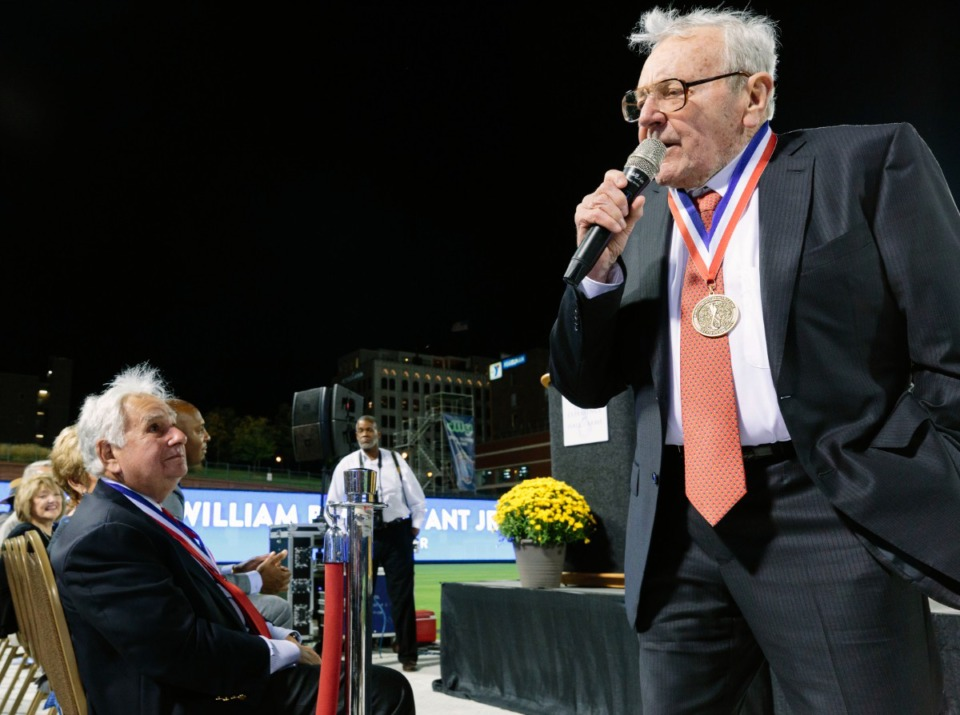<strong>Inductee William B. Dunavant Jr. gives an acceptance speech at the inaugural Memphis Sports Hall of Fame ceremony at AutoZone Park on Oct. 10, 2019.</strong> (Ziggy Mack/Daily Memphian)