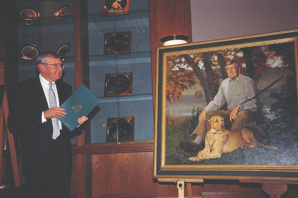 <strong>Billy Dunavant is standing next to an oil portrait of himself at the headquarters for Ducks Unlimited, which is in Memphis at International Agricenter because he worked and invested to make it happen.&nbsp;</strong>(Staff/Ducks Unlimited)