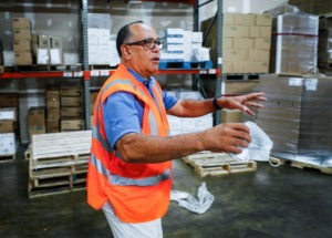 <strong>Charles Barnes, President and CEO of ACTION Janitorial Supply, walks through his warehouse on Tuesday, Sept. 14, 2021. Barnes has used Mid-South Minority Business Council (MMBC Continuum) for its services to help his business.</strong>(Mark Weber/The Daily Memphian)