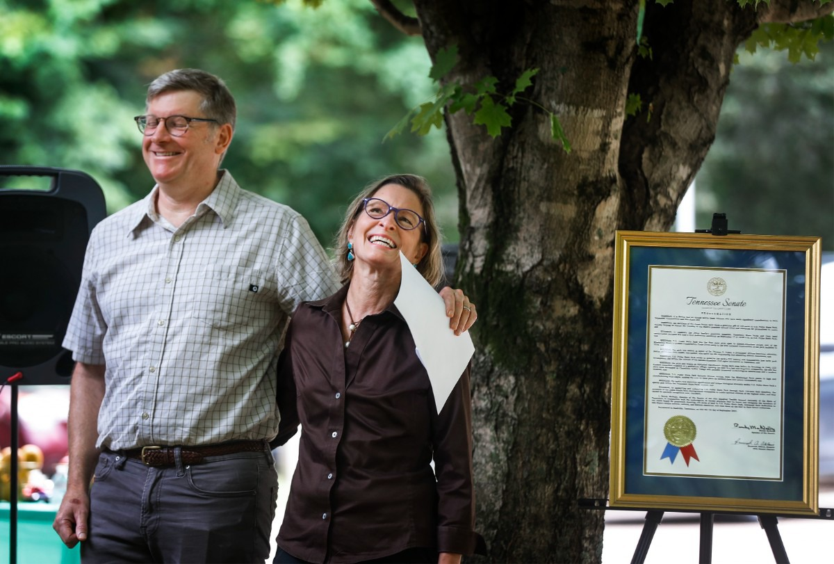 <strong>&ldquo;We started looking at what was here, and what we were now the stewards of as the next generation, and we realized that the proximity to Fuller Park and the opportunity to do some conservation work was there, and we jumped on it,&rdquo; Hugh Fraser (left) said of his and his wife Margaret Jones Fraser&rsquo;s donation. </strong>&nbsp;(Mark Weber/The Daily Memphian)