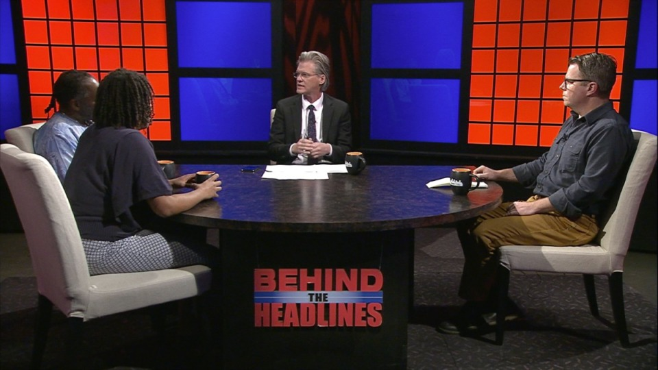 <strong>Daily Memphian CEO Eric Barnes (middle) hosts an episode of&nbsp;&ldquo;Behind the Headlines&rdquo; on WKNO-TV in 2019.</strong> (Daily Memphian file)