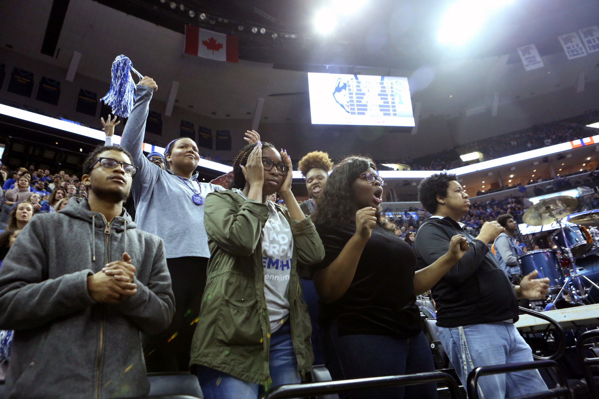 <strong>Memphis fans react to a call in Sunday's game against Connecticut at FedExForum.</strong> (Karen Pulfer Focht/Special to the Daily Memphian)