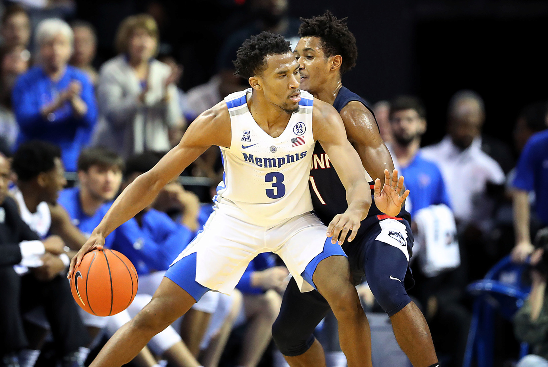 <strong>Memphis guard Jeremiah Martin backs off UConn defender Christian Vital in the second half of a 78-71 victory over the Huskies on Sunday, Feb. 10.</strong> (Patrick Lantrip/Daily Memphian)