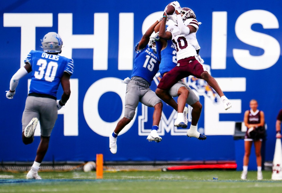 <strong>Mississippi State University wide receiver Makai Polk (10) jumps up to make a catch Saturday at the Liberty Bowl Memorial Stadium.</strong> (Patrick Lantrip/Daily Memphian)