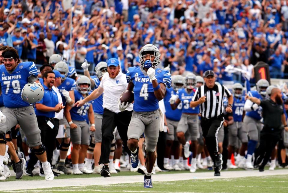 <strong>University of Memphis receiver Calvin Austin III (4) returns a long punt during the Sept. 18, 2021 game.</strong> (Patrick Lantrip/Daily Memphian)
