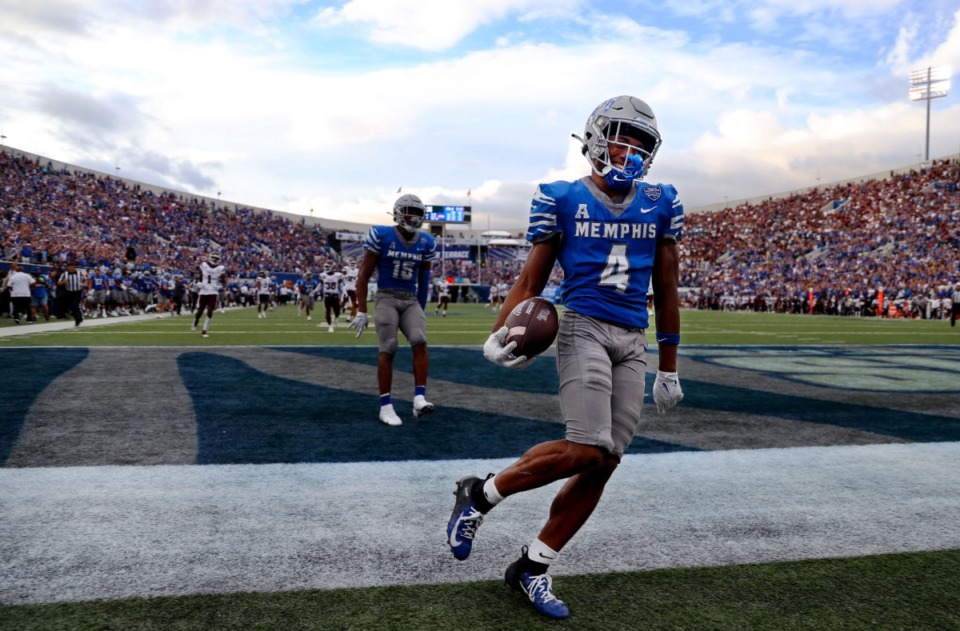 <strong>University of Memphis receiver Calvin Austin III (4) smiles after scoring the go-ahead touchdown during a Sept. 18, 2021 game at the Liberty Bowl Memorial Stadium.</strong> (Patrick Lantrip/Daily Memphian)