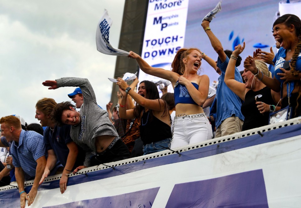 <strong>University of Memphis fans celebrate after their team scored the go-ahead touchdown during a Sept. 18, 2021 game Saturday against Mississippi State University.</strong> (Patrick Lantrip/Daily Memphian)