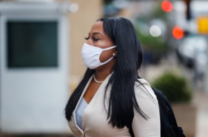 <strong>Senator Katrina Robinson walks to federal court with her attorney&rsquo;s on Friday, Sept. 17, 2021.</strong> (Mark Weber/The Daily Memphian)