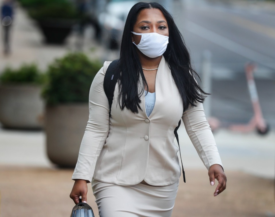 <strong>State Sen. Katrina Robinson walks to federal court with her attorneys on Friday, Sept. 17, 2021.</strong> (Mark Weber/The Daily Memphian)