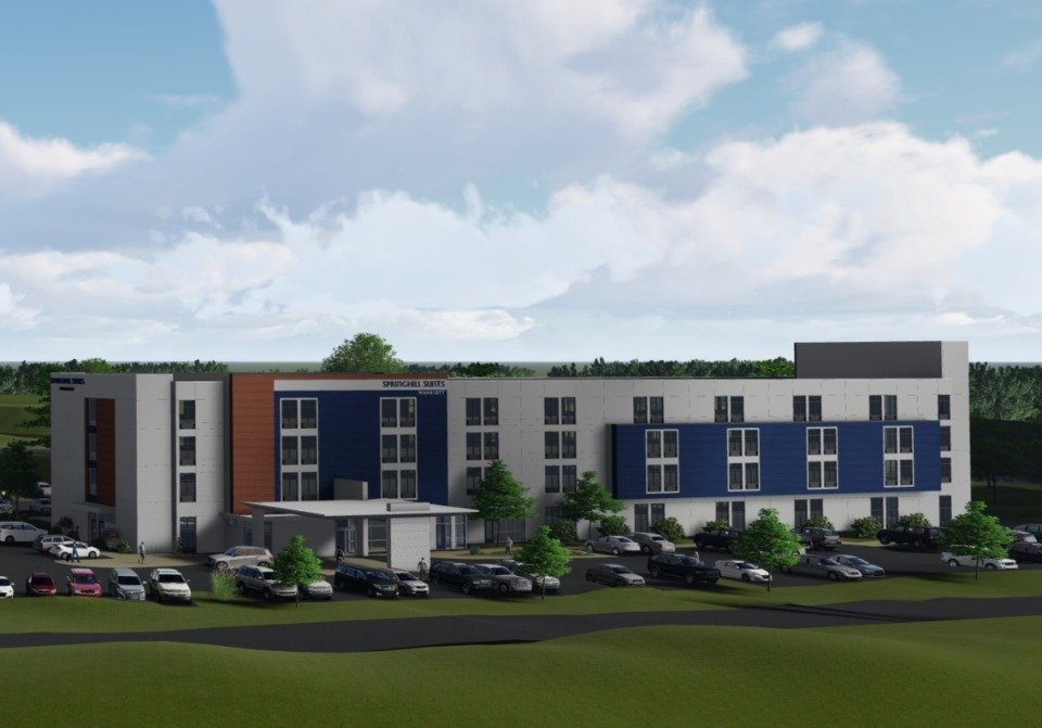 <strong>The new SpringHill&nbsp;Suites by Marriott hotel, on the southwest corner of the Interstate 40 and Airline Road interchange hotel in Arlington, will sit just west of the four-story, 110-room Fairfield Inn &amp; Suites under construction. </strong>(Credit: Renaissance Group)