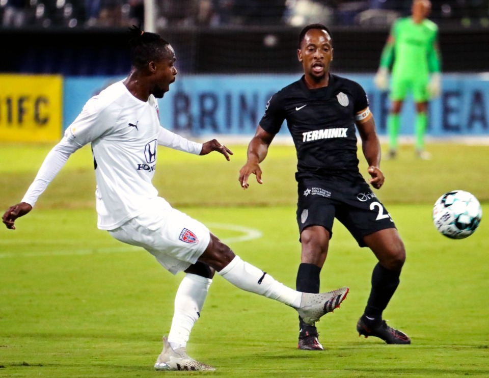 <strong>Memphis 901 FC midfielder Leston Paul (23) tries to steal the ball on Sept. 22, 2021, during the home match against Indy Eleven.</strong> (Patrick Lantrip/Daily Memphian)