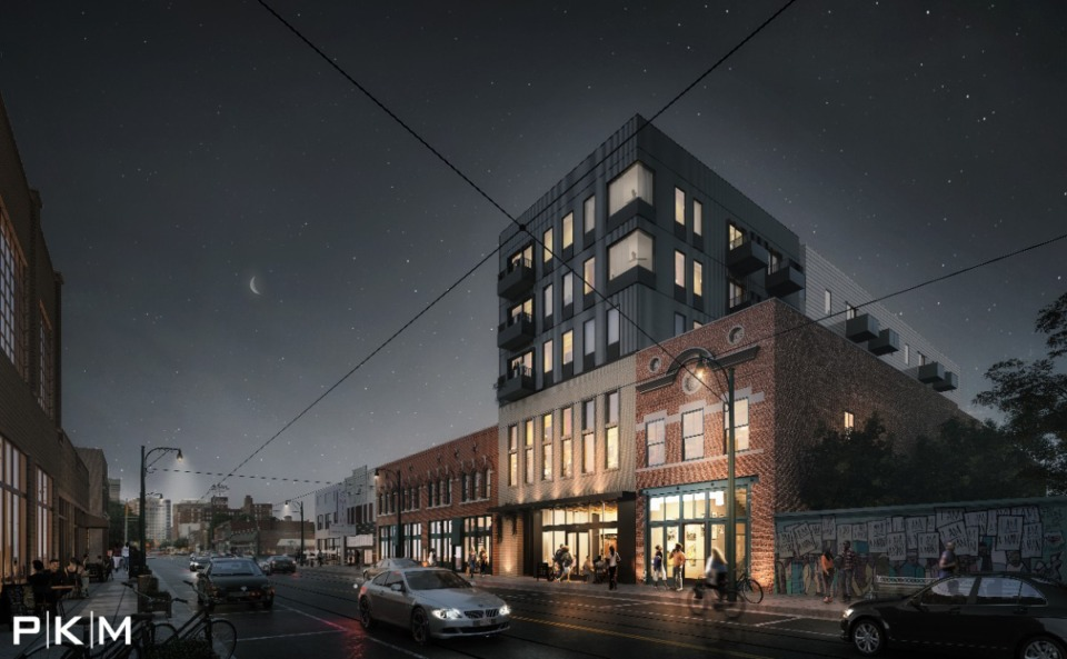<strong>A rendering depicts the 32-unit apartments proposed for 386 S. Main, which is currently a vacant lot.</strong> (Courtesy PKM Architects)
