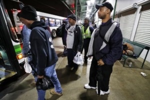 <strong>&ldquo;People depend on MATA,&rdquo; Sammie Hunter (right, boarding a MATA bus in 2019) said of the proposed fixed-route changes, noting MATA is &ldquo;the only bus company here in the city of Memphis.&rdquo; Hunter, of the Memphis Bus Riders Union, says funding is not guaranteed under MATA&rsquo;s Ready! program.</strong> (Jim Weber/Daily Memphian file)