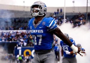 <strong>University of Memphis lineman Jaylon Allen (37) takes the field before a Sept. 18, 2021 home game against Mississippi State University.</strong> (Patrick Lantrip/Daily Memphian)