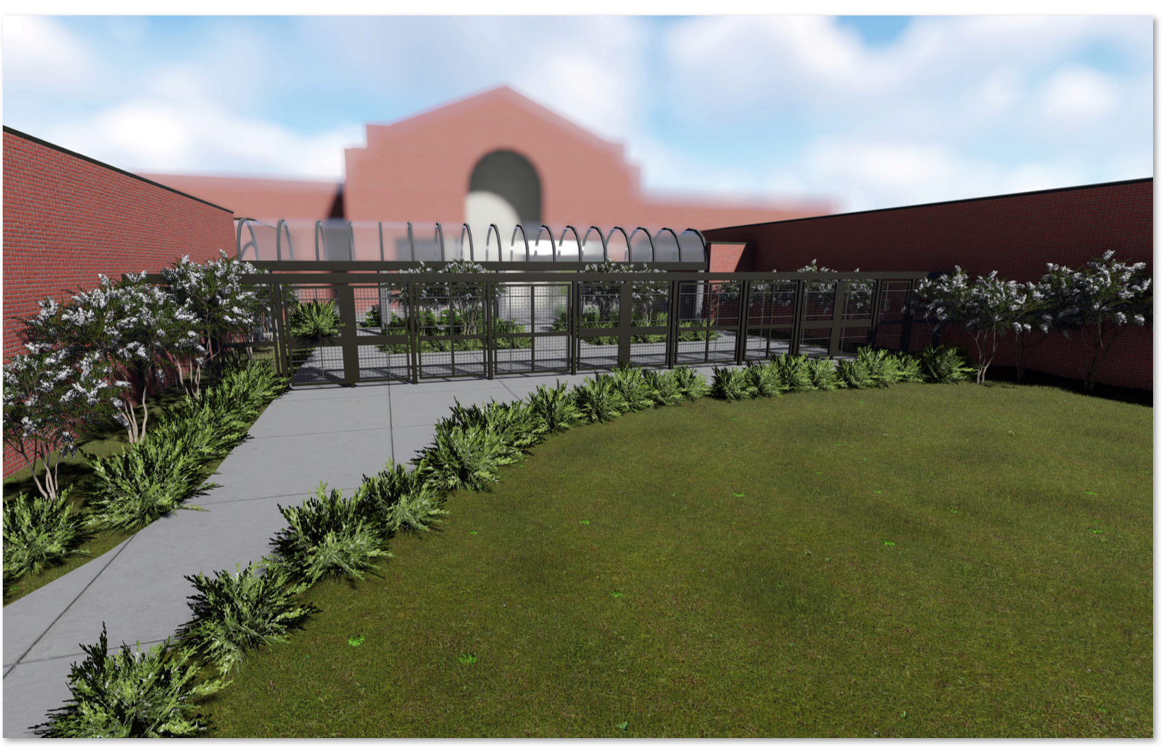 <strong>A fenced-in, secured walkway will run between Houston High School's main building and the A building, where the exceptional student program, foreign language and health science classes are taught.</strong> (Rendering courtesy of Germantown Municipal School District)