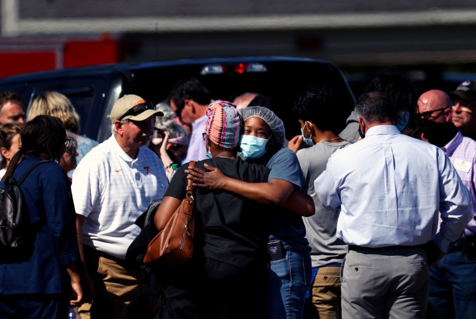 <strong>Survivors of a mass shooting at a Kroger in Collierville, Tennessee at the crime scene Sept. 23, 2021.</strong> (Patrick Lantrip/Daily Memphian)