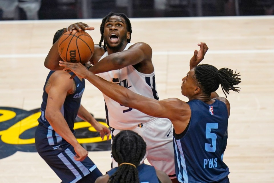 <strong>Memphis Grizzlies' Yves Pons (5, in August)&nbsp;will join Killian Tillie as a player who will transition between the Memphis Hustle of the G League and the Grizzlies.</strong> (AP file)