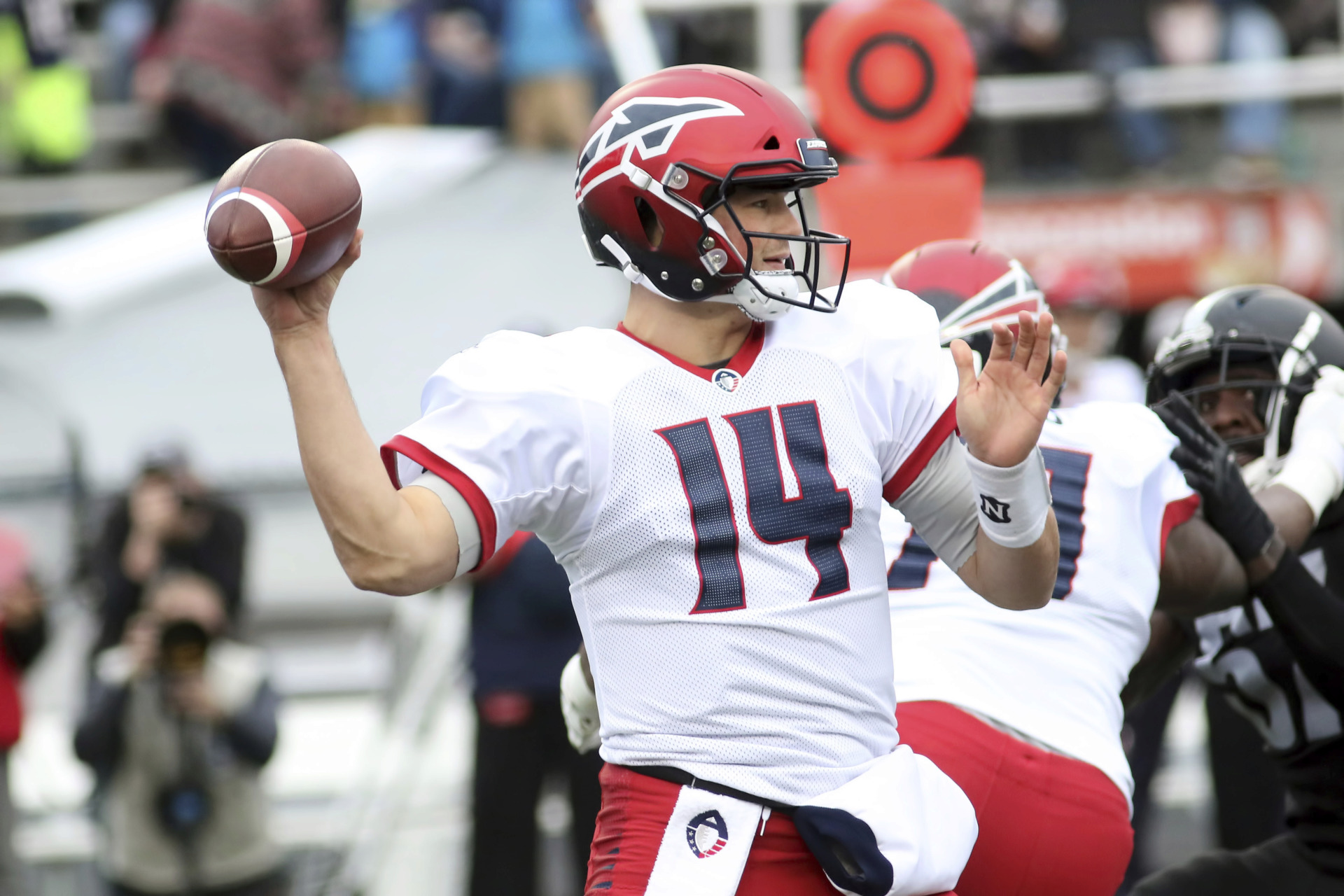 <span><strong>Memphis Express quarterback Christian&nbsp;Hackenberg (14) during the game between the Birmingham Iron and the Memphis Express on Feb. 10, 2019, at Legion Field in Birmingham, Alabama.</strong> (Michael Wade/Icon Sportswire via AP Images)</span>