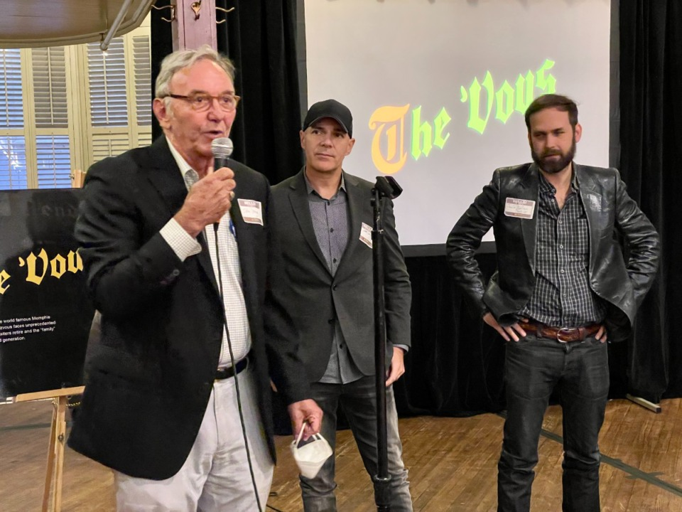 <strong>From left: Rendezvous co-owner John Vergos and co-directors of&nbsp; &ldquo;The &lsquo;Vous,&rdquo; Jeff Dailey and Jack Lofton, at a small event to showcase a compilation of the film.</strong>&nbsp;(Jennifer Biggs/The Daily Memphian)