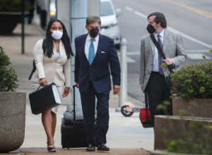 <strong>State Sen. Katrina Robinson (left) walks to federal court with her attorneys on Friday, Sept. 17, 2021. She was granted acquittal on 15 charges Sunday, Sept. 26,&nbsp;but denied a motion on 5 other counts.</strong> (Mark Weber/The Daily Memphian)