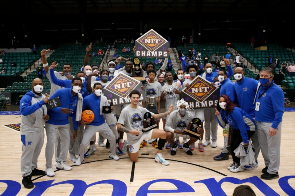 <strong>The University of Memphis Tigers defeated Mississippi State, 77-64, to win the NIT Championship in Frisco, Texas, Sunday, March 28, 2021. &ldquo;The core of the guys that found themselves and caught fire on the way to the NIT championship. Guys like Lester Quinones, DeAndre Williams, Alex Lomax and Landers Nolley, those guys are great, but they&rsquo;re even better than I thought they were,&rdquo; Jordan VerHulst said.</strong>&nbsp;(Photo courtesy of the NCAA)