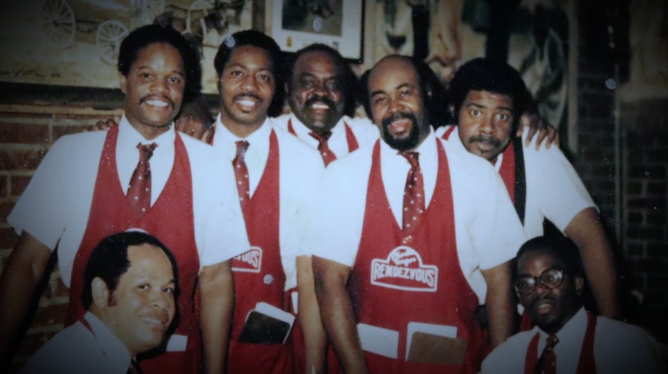 <strong>In a vintage photo, waiters model the Rendezvous&rsquo; old-time aprons.</strong> (Courtesy Jack Lofton)