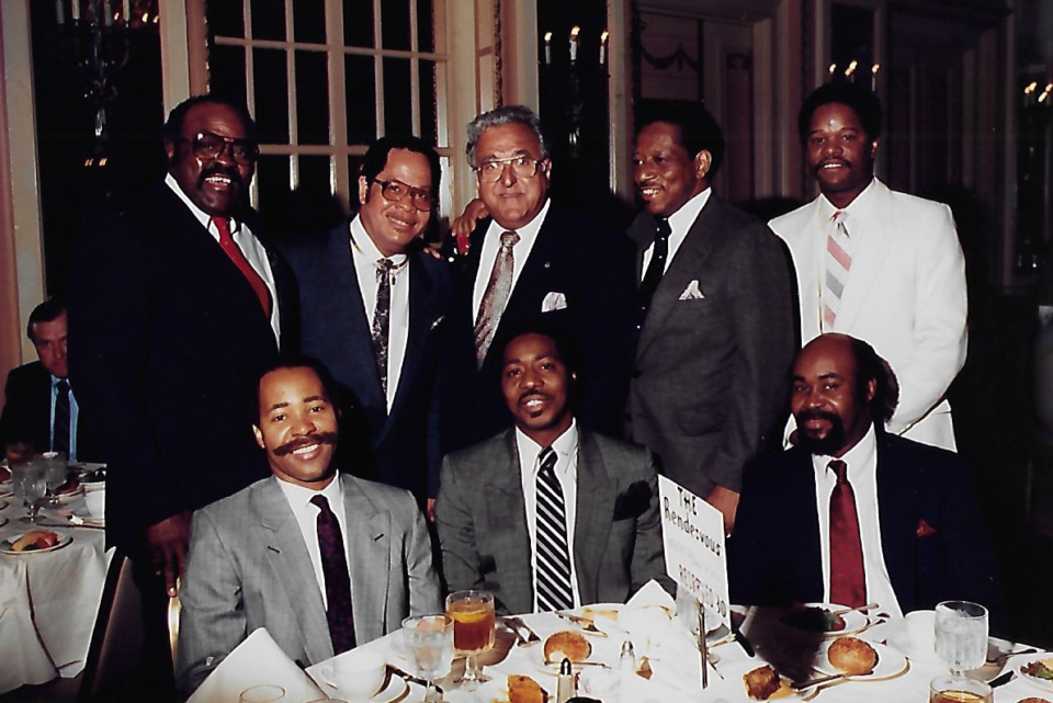 <strong>Rendezvous founder Charlie Vergos (back row, center) poses with his team at a special event. Filmmaker Jack Lofton said the Rendezvous &ldquo;was built by people and we wanted to tell that story, about how an old Greek man and group of Black men could build an institution.&rdquo;</strong> (Courtesy Jack Lofton)