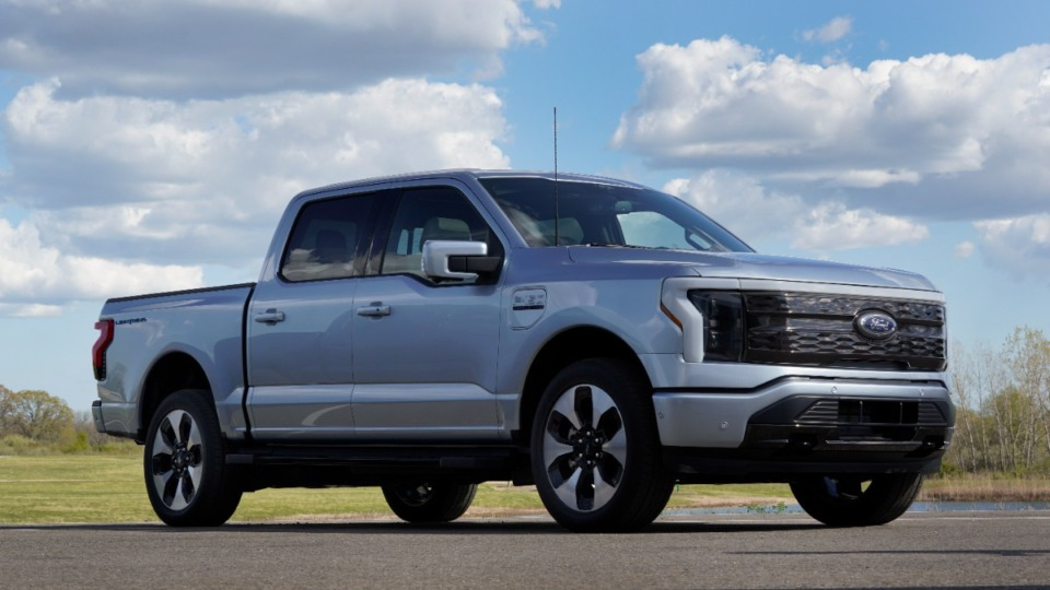 <strong>A pre-production Ford F-150 Lightning is shown. SK Innovation has a contract with Ford Motor Co. to make batteries for the automaker&rsquo;s new electric F-150 pickup trucks that are scheduled to be on the market next spring</strong>. (AP Photo/Paul Sancya)