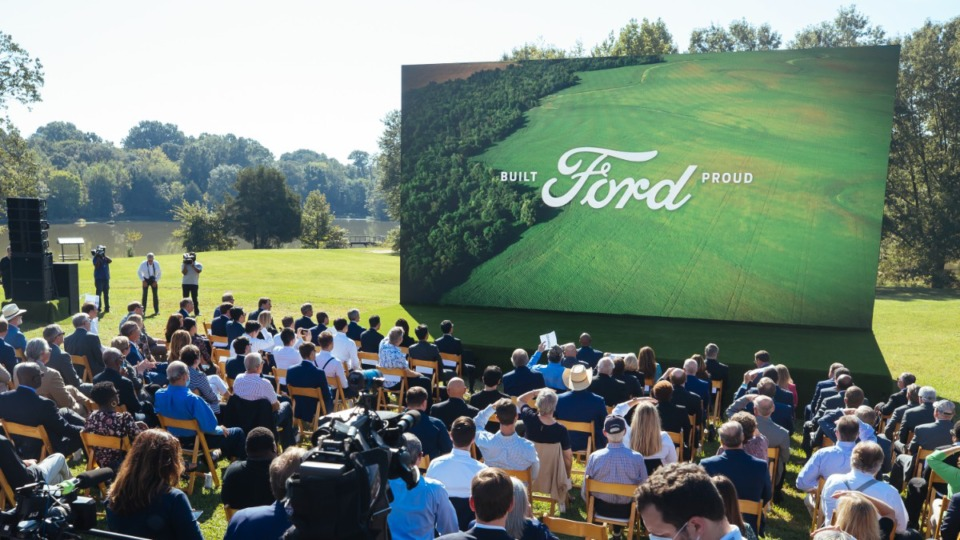 <strong>Ford Motor Co. West Tennessee manufacturing campus unveiling press conference at Shelby Farms on Sept. 28, 2021.</strong> (Ziggy Mack/Special to The Daily Memphian)