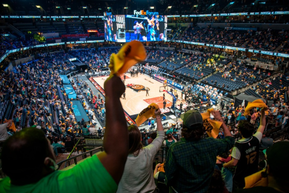 <strong>Fans cheer at a Memphis Grizzlies game May 19, 2021 at FedExForum. Fans wanting to attend Grizzlies or Tigers games this season at FedExForum must present proof of having received at least one COVID-19 vaccination dose, or if they are unvaccinated, must present proof of a negative test taken at least 72 hours in advance</strong>. (AP Photo/Brandon Dill)