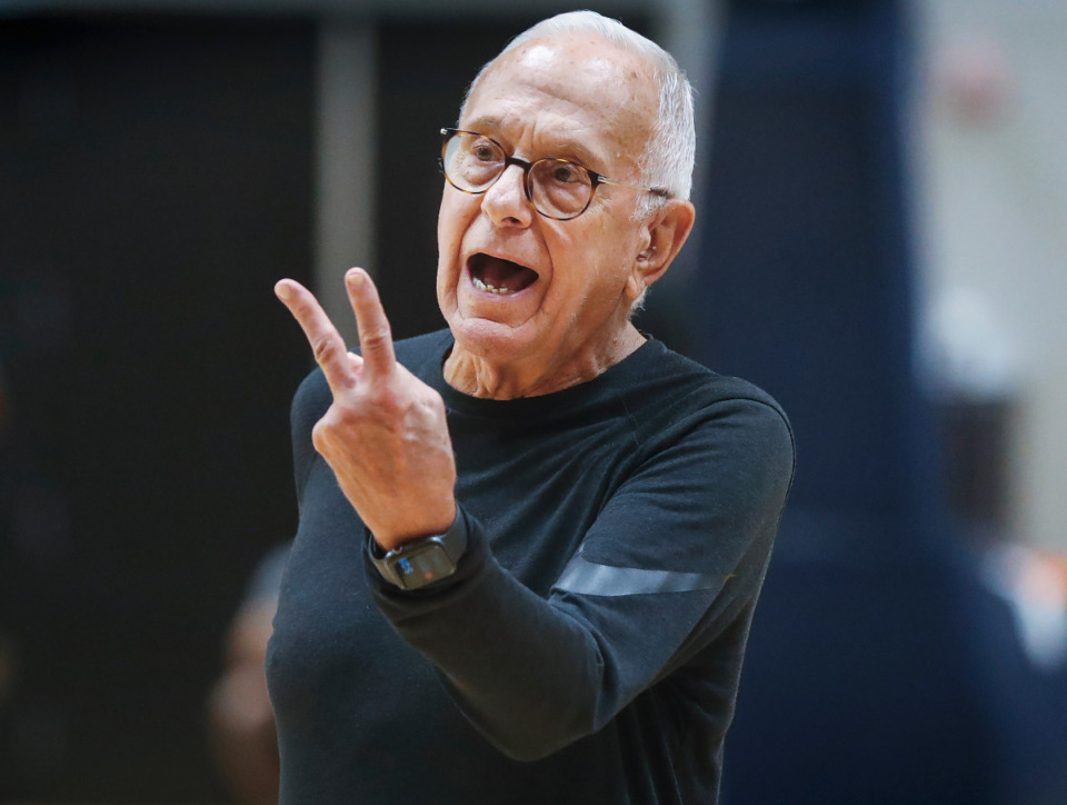 <strong>Tigers assistant coach Larry Brown gestures during the first day of practice on Tuesday, Sept. 28, 2021.</strong> (Mark Weber/The Daily Memphian)