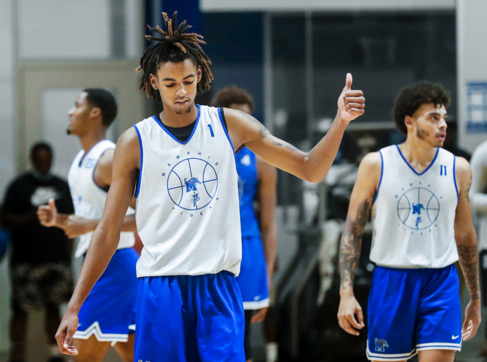 <strong>Tigers forward Emoni Bates gives a thumbs up during the first day of practice on Tuesday, Sept. 28, 2021.</strong> (Mark Weber/The Daily Memphian)