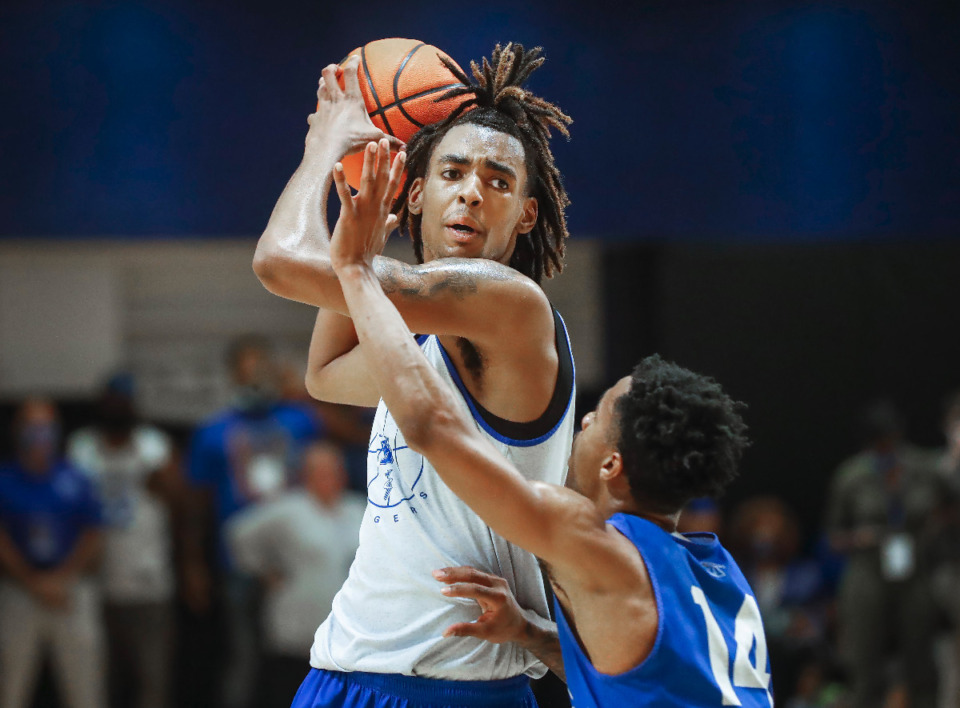 <strong>Tigers forward Emoni Bates goes up for a shot during the first day of practice on Tuesday, Sept. 28, 2021.</strong> (Mark Weber/The Daily Memphian)