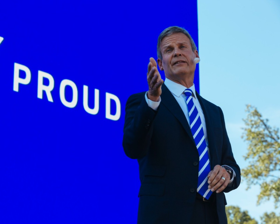 <strong>Tennessee Gov. Bill Lee addresses those gathered at Shelby Farms Tuesday, Sept. 28, for the announcement of Ford&rsquo;s West Tennessee manufacturing plant.</strong> (Ziggy Mack/Special to the Daily Memphian)