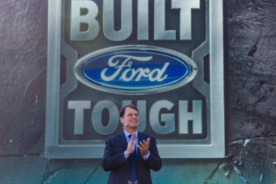 <strong>Ford Motor Company CEO Jim Farley speaks at Ford Motor Co. West Tennessee manufacturing campus unveiling press conference at Shelby Farms.</strong> (Ziggy Mack/Special to Daily Memphian)