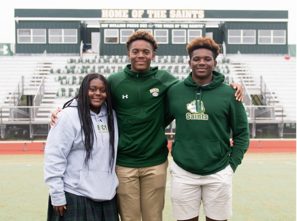 <strong>Milan Carroll (left) and her brothers Max Carroll (center) and Derrick Carroll, all Briarcrest athletes.</strong> (Courtesy Briarcrest Christian School)