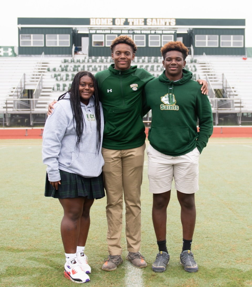 <strong>Twins Milan Carroll (left) and Max Carroll (center), and older brother Derrick Carroll, are all Briarcrest athletes. Their father, also Derrick, was one of the best football players in Bartlett High history and went on to play collegiately at MTSU.</strong> (Courtesy Briarcrest Christian School)