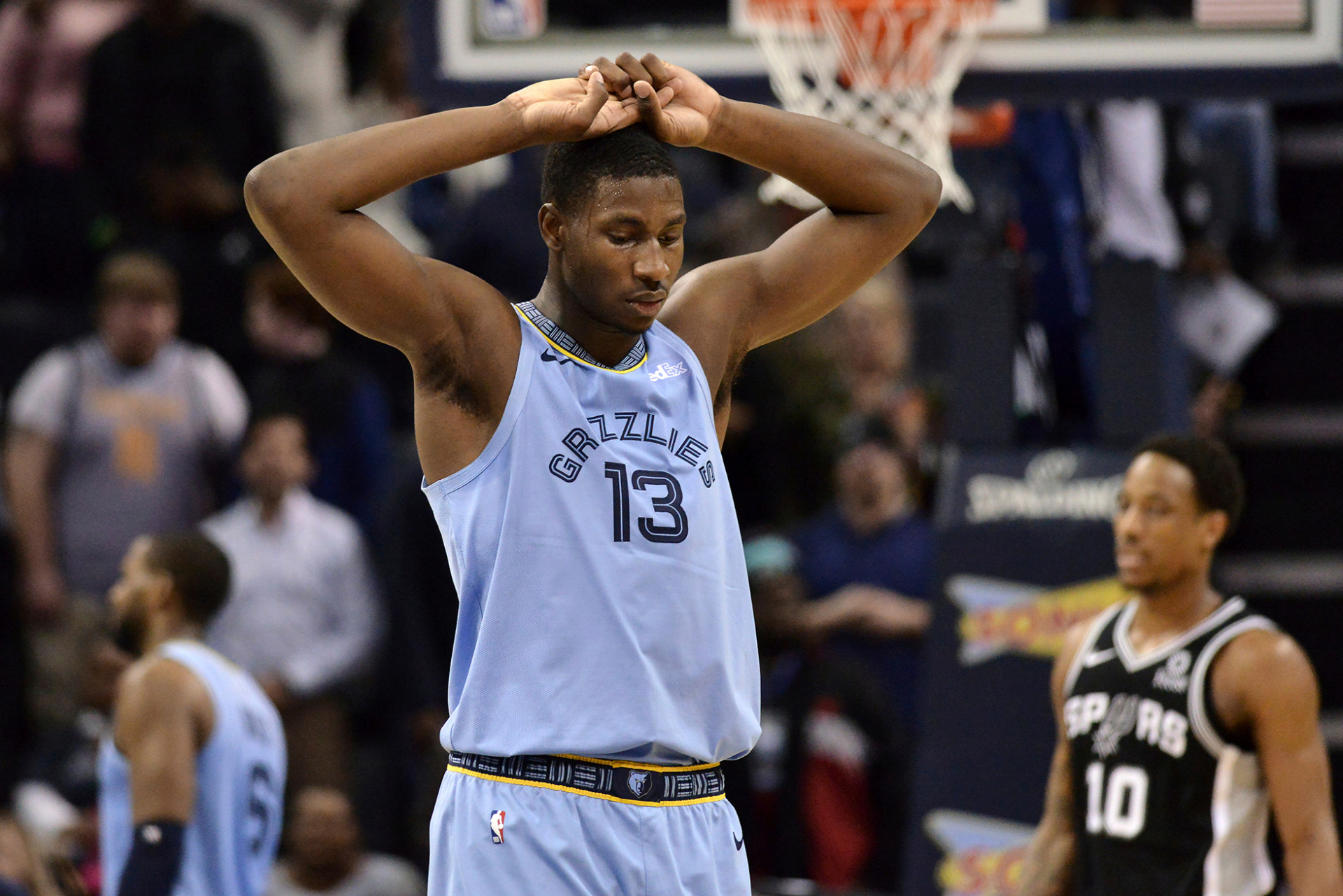 <strong>Memphis Grizzlies forward Jaren Jackson Jr. (13) stands on the court in the second half of an NBA basketball game against the San Antonio Spurs Tuesday, Feb. 12, 2019, in Memphis, Tenn.</strong><span>&nbsp;(AP Photo/Brandon Dill)</span>