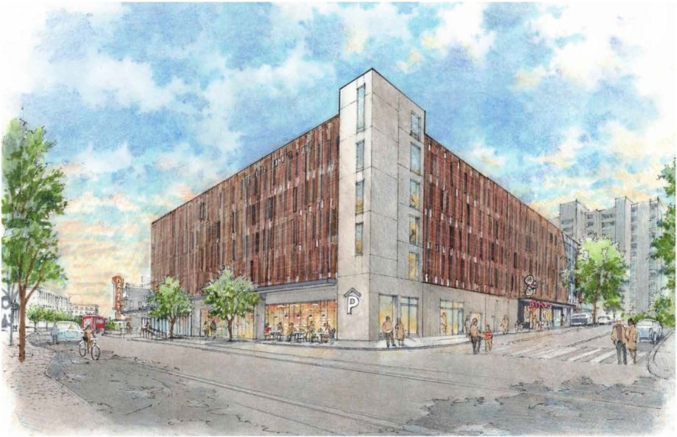 <strong>Rendering shows a view of the proposed Downtown Mobility Center at Main and Peabody.</strong> (Courtesy LRK)